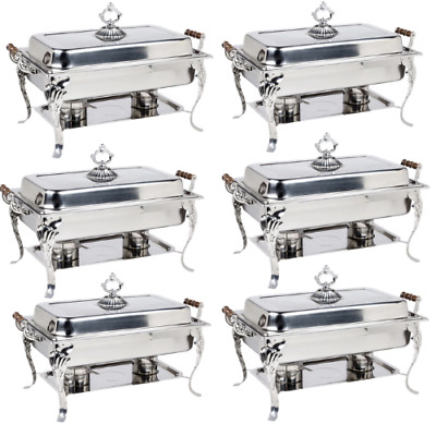 6 Pack Catering Classic Stainless Steel Chafer Chafing Dish Set 8 Qt Buffet CPS