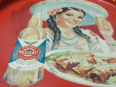 Mexicali Girl W/ Sombrero Vintage Mexican Tin Advertising Beer Tray