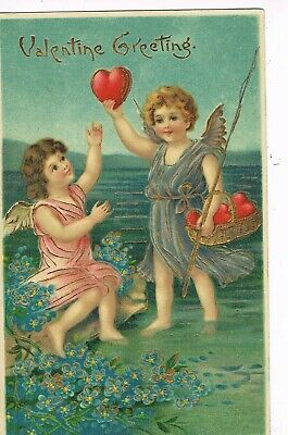 ANTIQUE VALENTINE Postcard   CUPID HOLDING HEART IN THE AIR, BASKET OF HEARTS