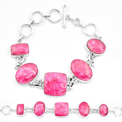 sale natural pink thulite (unionite, pink zoisite) silver tennis bracelet p20467