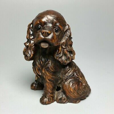 Collectible Japanese Netsuke Old Boxwood Carved Pet Dog Vintage Ornament Statue