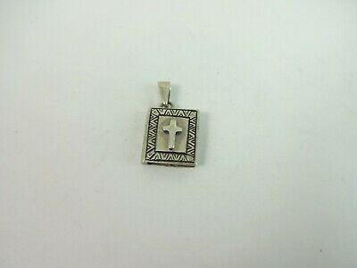 Sterling Silver Signed Nice Religious Bible Cross Locket Pendant    4.2 Gram