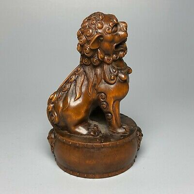 Collectible Old Boxwood Lion & Drum Vintage Apotropaion Japanese Netsuke Statue