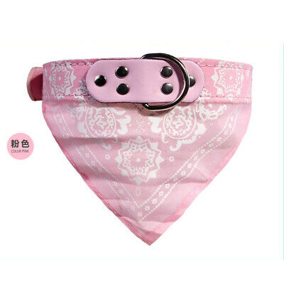 Dog Bandana Collar Triangle Scarf Adjustable Leather Pet Cat S Pink Neckerchief