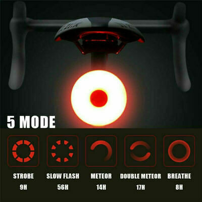 LED Bicycle Bike Rear Tail Light Rechargeable 5 Mode Waterproof High-Intensity