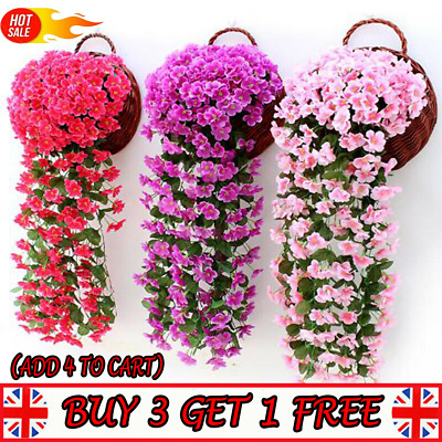 Hanging Wall Artificial Fake Silk Violet Orchid Flowers Rattan Garden outdoor _P