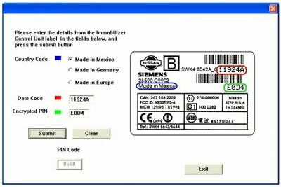 Nissan NATS 5 & 6 PIN Code Calculator✔ Key Programming✔ Siemens Immobilizer✔
