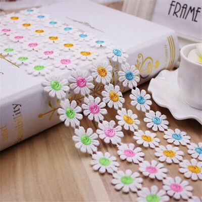 """2Yards Daisy Flowers Embroidery Trim Lace Ribbon Crafts Sewing DIY 0.98 """"Width"""