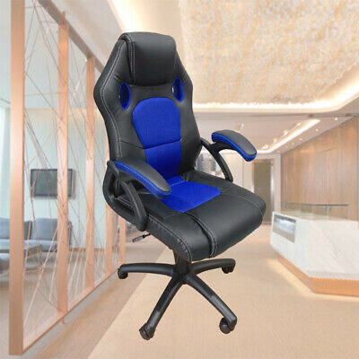 Racing Office Chair Seat Executive Computer Gaming Deluxe PU Leather Black Blue