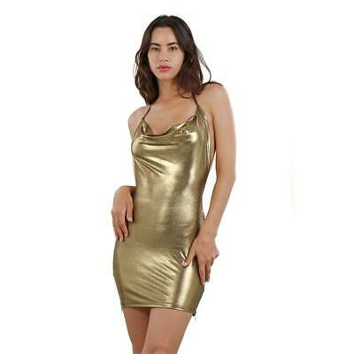 Sexy glänzendes Damen Party Minikleid in Metallic-Look Gold #MK2766