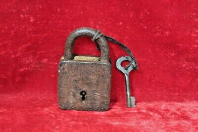 Brass Lock and Key Antique Vintage Old Iron Padlock Collectible BG-76
