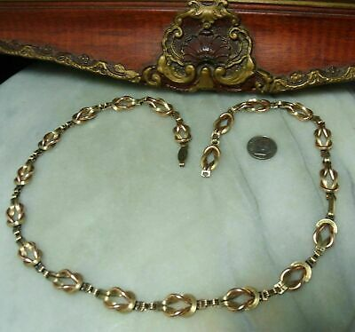 Antique Sterling Silver + Heavy Rolled 12k Super Heavy Victorian Rare Necklace