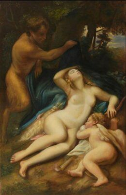 Huge Mythological Oil Painting - Sleeping Nymph & Cupid By Famous Louvre Copyist