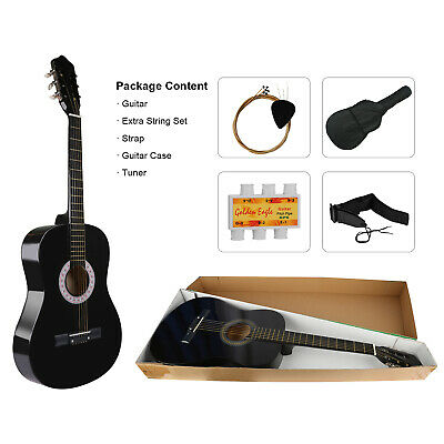 """39"""" 3/4 Size 6 Strings Acoustic Classic Guitar For Beginners Gigbag+Tuner+String"""