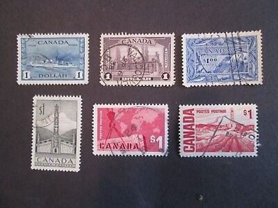6 Different Used Canada One Dollar Stamps Scott No. 227 245 262 321 411 465B
