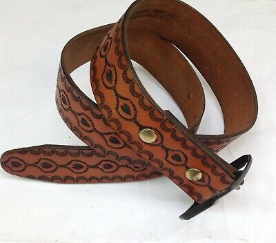 Western American Leather Belt Vintage Embossed Saddle Leather
