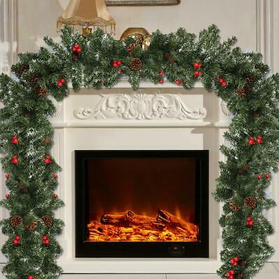 6ft /9ft Christmas Garland Decorations tree Plain Green Pine fireplace pre lit