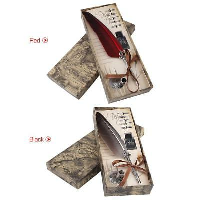Calligraphy 0.5mm Feather Dip Quill Pen Writing Ink Set Gift Box +5 Nib & Bottle