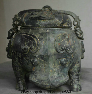 "12"" Old China Bronze Ware Dynasty rhinoceros Beast Portable Food Wine Pot Crock"
