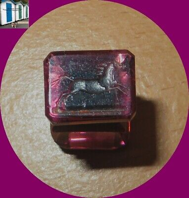 Victorian Amethyst Glass Horse Image Writing Paper Envelope Wax Stamp Mark Seal