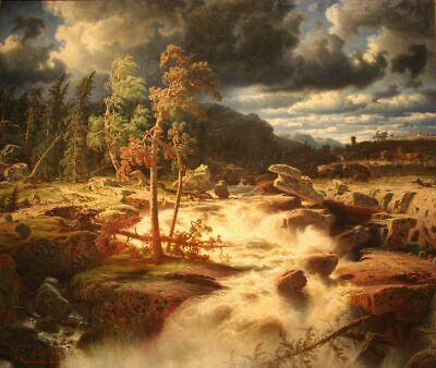 """perfect oil painting handpainted on canvas"""" landscape with waterfall""""N15728"""