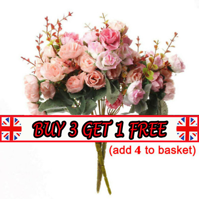 21HEADS ARTIFICIAL SILK FLOWERS ROSE BUNCH Wedding Home Grave Outdoor Bouquet P-