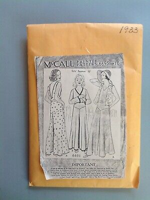Vintage 1930'S Girls Pajama Outfits Sewing Pattern Deco Mccalls 6695 Sz 10 Copy