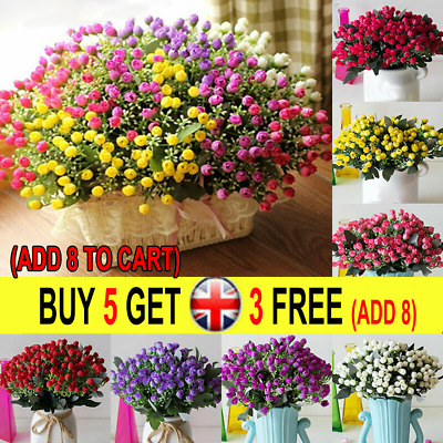 36HEADS ARTIFICIAL SILK FLOWERS BUNCH Wedding Home Grave Outdoor Bouquet UK P
