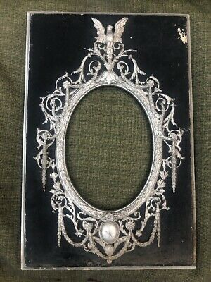 ANTIQUE Art Nouveau Victorian Silver Gilt Oval Center Picture FRAME 10 X 13""
