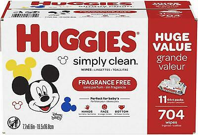 HUGGIES Simply Clean Fragrance Free Baby Wipes Soft Pack 11 Pack 704 Sheets New