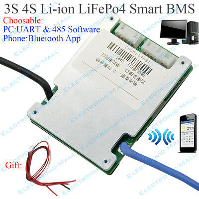 3S 4S Li-ion Lifepo4 Battery Protection Board UART 485 Smart BMS Bluetooth APP