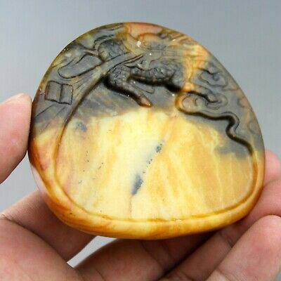 3.1'' China old jade Chinese hand-carved ancient dragon jade Ink Stone 0435
