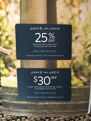 JANIE JACK store/online coupon discount $30 off $100 + 25% ENTIRE PURCH Exp 9/15