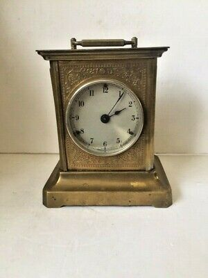 Antique Working  Brass & Glass Carriage Clock Unbranded