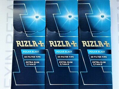 RIZLA POLAR BLAST FILTER TIPS - 3 Boxes - 180 Extra Slim Filters - Discounted!