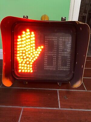 LED Pedestrian Crossing Signal Crosswalk Traffic Light Orange Hand Inside Case!