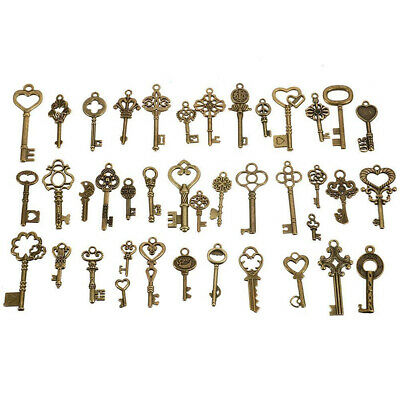 40pcs Antique Vintage Bronze Old Look Skeleton Key Heart Bow Pendant Charm Decor