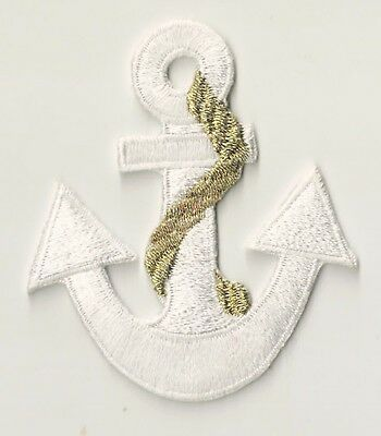 Ecusson patche Ancre marine blanc thermo patch marin thermocollant