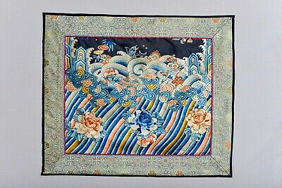 Fabulous Antique 19Th Century Chinese Silk Tapestry Embroidery Robe Textile