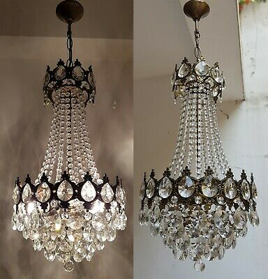 Matching Pair of Antique Vintage Brass & Crystals French Chandeliers Lighting
