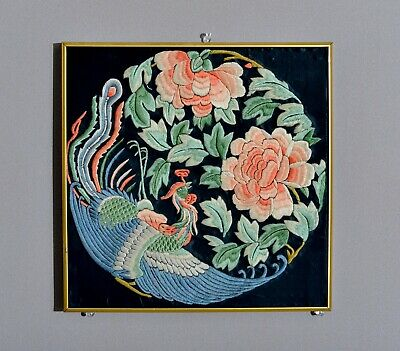 Unusual Antique 19Th C. Bird Chinese Silk Badge Tapestry Embroidery Robe Textile
