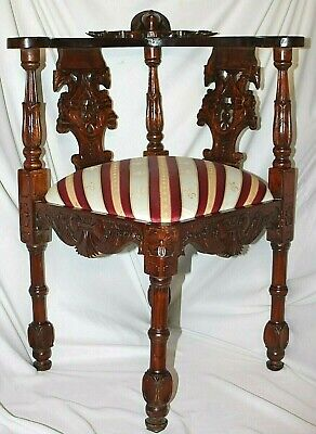 Antique Victorian Ornate Walnut Chippendale Corner Chair W/ Carved Upward Face