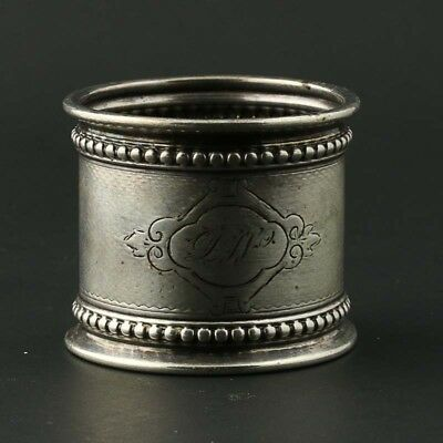 Monogrammed Napkin Ring Sterling Silver Engraved Antique Round