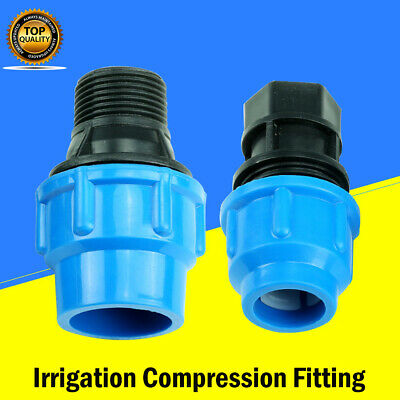 Irrigation Compression Fitting 20-63mm Coupler Tee MDPE water pipe male femal
