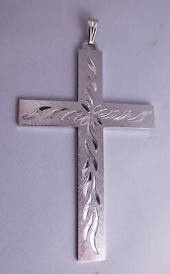 Fancy Vintage Sterling Silver Floral Etched Religious Cross Crucifix Pendant