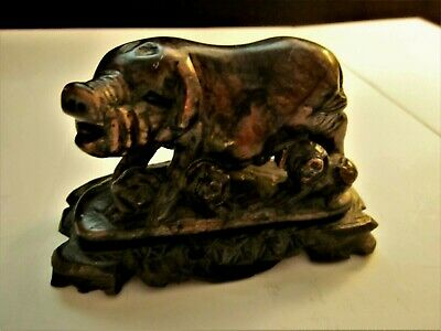 Vintage Asian Carved Stone Sow & Piglets Figure with Wood Stand