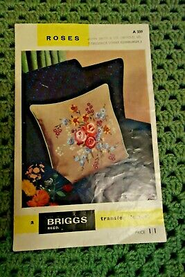 Vintage Briggs Roses/Floral Cushion Embroidery Transfer Leaflet & pattern