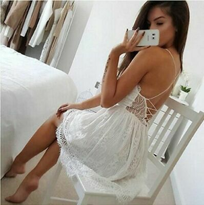 Summer Lace V Neck Women Backless Short Cocktail Party Mini Dress Evening Sexy