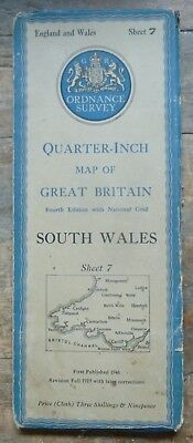 Ordnance Survey Quarter inch map SOUTH WALES  1946 Sheet 7