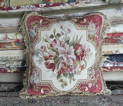 """18"""" Handmade French Gobelins Tapestry Weave Wool Aubusson Cushion Pillow Cover"""